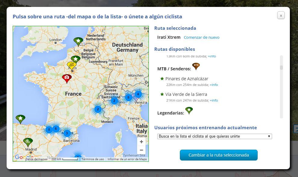 Nuevo mapa de selección de ruta